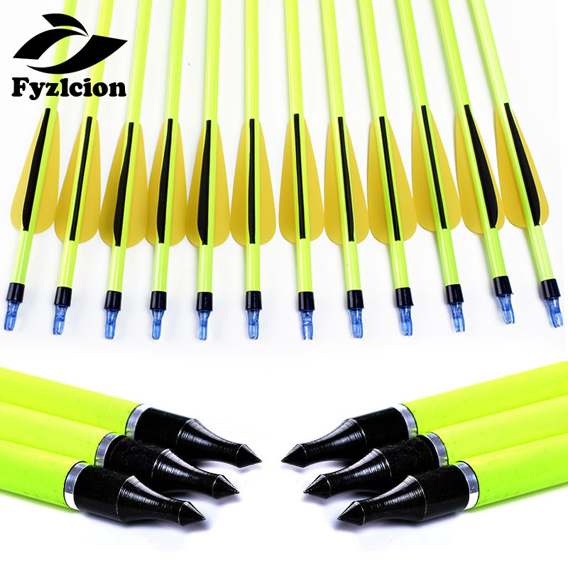 6/12/24pcs Hunting Archery 30inch Spine500 Yellow Shaft Carbon Arrow Replaceable Arrow Bolts For Recurve/composite Bow