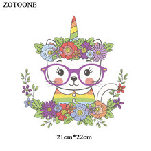 ZOTOONE Iron on Cute Cat Patches for Clothing Applique Embroidered  DIY Cartoon Unicorn Patch Heat Transfers Kids Clothes G