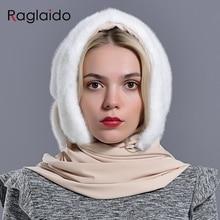 מינק פרווה הוד כובעי נשים החורף חם יוקרה מלא פלט מינק פרווה צעיף כובע אופנתי אופנתי אמיתי נשי חיצוני שלג כובע