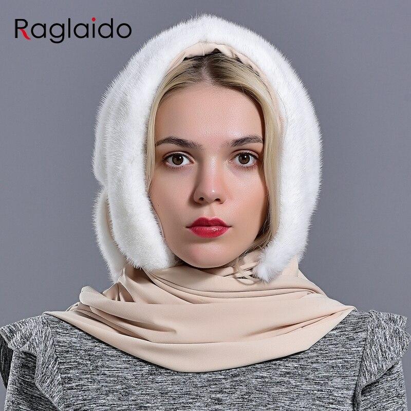 Gorros tipo capucha de piel de visón para mujer invierno cálido de lujo Piel de visón bufanda sombrero con estilo de moda genuina Mujer al aire libre sombrero de nieve