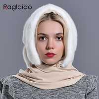 Mink fur hood hats for women winter warm luxury full pelt mink fur scarf hat stylish fashionable genuine female outdoor snow hat
