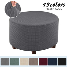 Slipcovers Ottoman Storage Fabric Stretch Velvet Living-Room Round for Removable