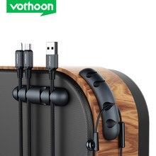 Organizador de cabos de silicone vothoon, usb, enrolador de cabos, presilhas magnéticas, suporte para cabos para mouse, headphone, fone