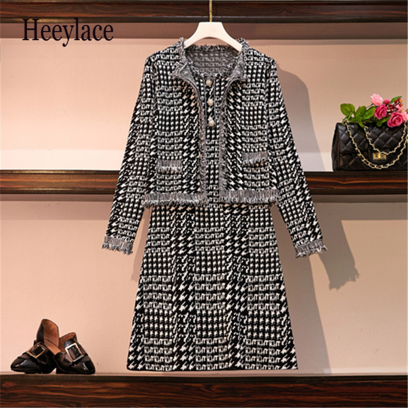 Women Autumn Winter England Vintage Knitted Dress And Cardigans Coats 2 Pieces Sets Outfits Plus Size Office Lady Tweed Set 2019