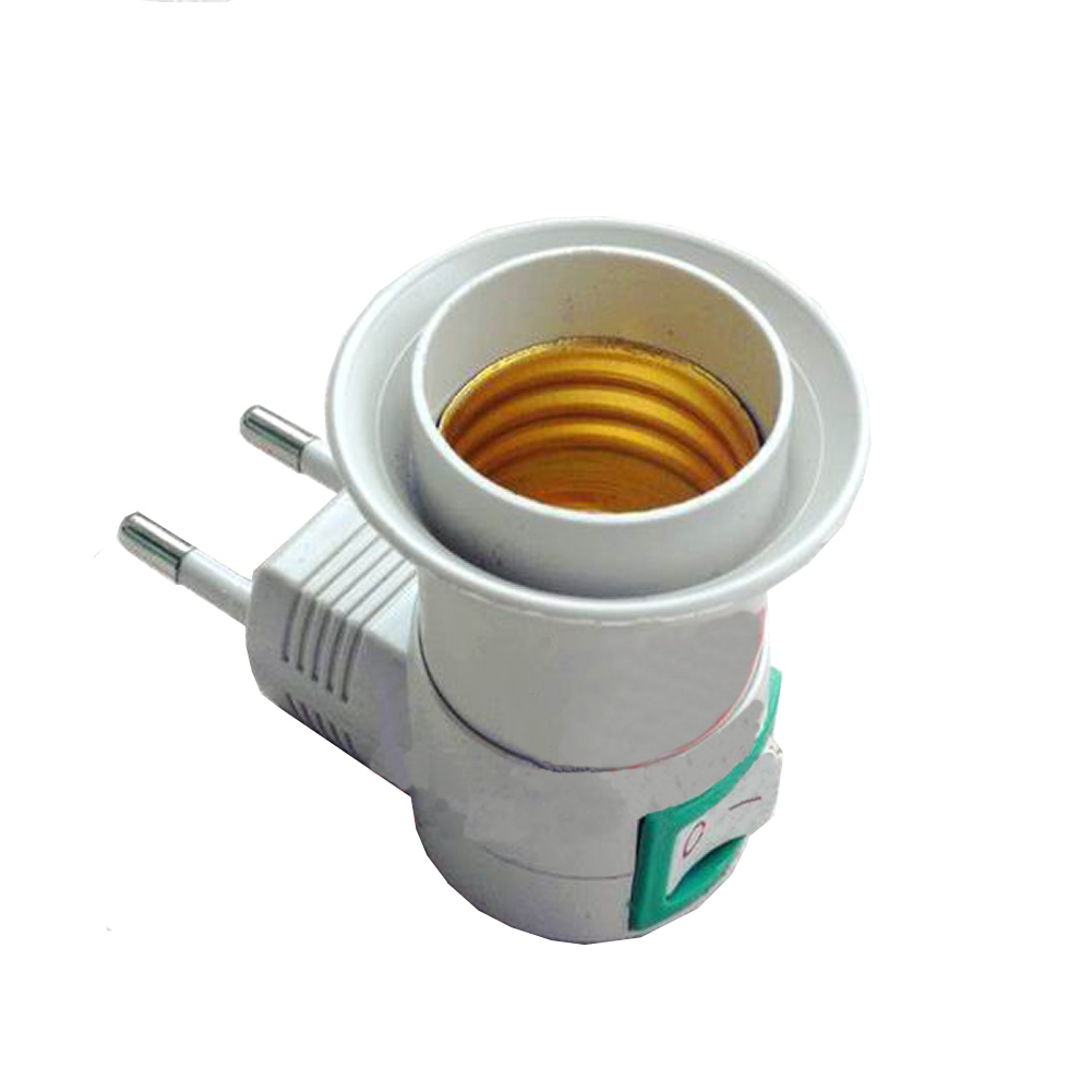 E27 Female Socket To EU Plug Adapter With Power On-off Control Switch New Drop Ship Support