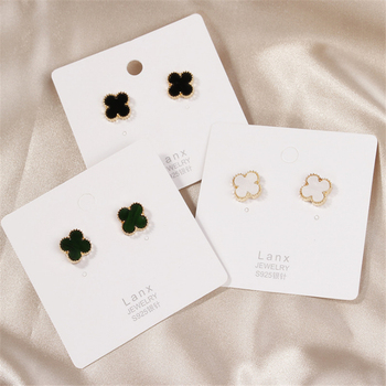 Fine Environmental Protection Small Jewelry 925 Silver Needle Clover Simple Retro Earrings Earrings