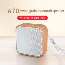 Altavoz inalámbrico portátil A70 de grano de madera Vintage Mini Altavoz Bluetooth con soporte de micrófono TF tarjeta Radio FM para teléfono móvil