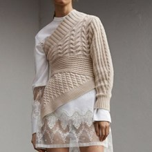 Women White Shirt Dress Large Size Stitching Lace Spring Autumn Base Bottoming For Sweaters