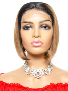 Wig Closure Human-Hair Lace Tinashe Women Brazilian Straight for Ombre Remy 4x4 Short-Bob