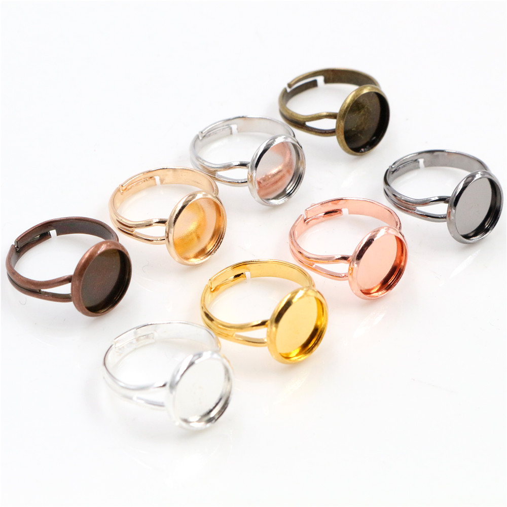 10mm 10pcs Classic 8 Colors Plated Brass Adjustable Ring Settings Blank/Base,Fit 10mm Glass Cabochons,Buttons;Ring Bezels