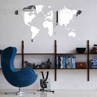 Mirror Wall Stickers Sticker Room Decoration Bedroom Decor Living room Decals Living Large Abstract World Map Time Zone R137