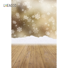 Laeacco Winter Photophone Snowflake Snow Wooden Floor Photography Backgrounds Customized Photographic Backdrops For Photo Studio kate winter backdrops photography ice snow tree scenery photo shoot white forest world backdrops for photo studio