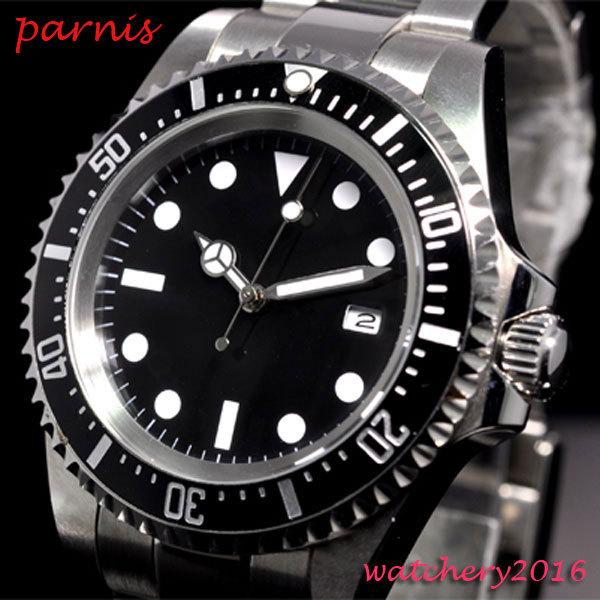42mm parnis black sterile dial luminous marks date window vintage SEA automatic movement mens Watch