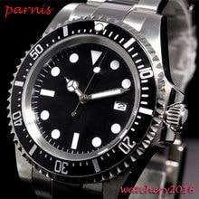 42mm parnis siyah steril kadran aydınlık işaretleri tarihi pencere vintage deniz otomatik hareketi erkek saati