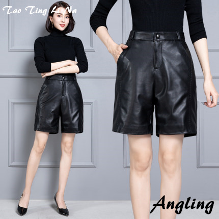 2020 Women New Real Genuine Sheep Leather Shorts KS58
