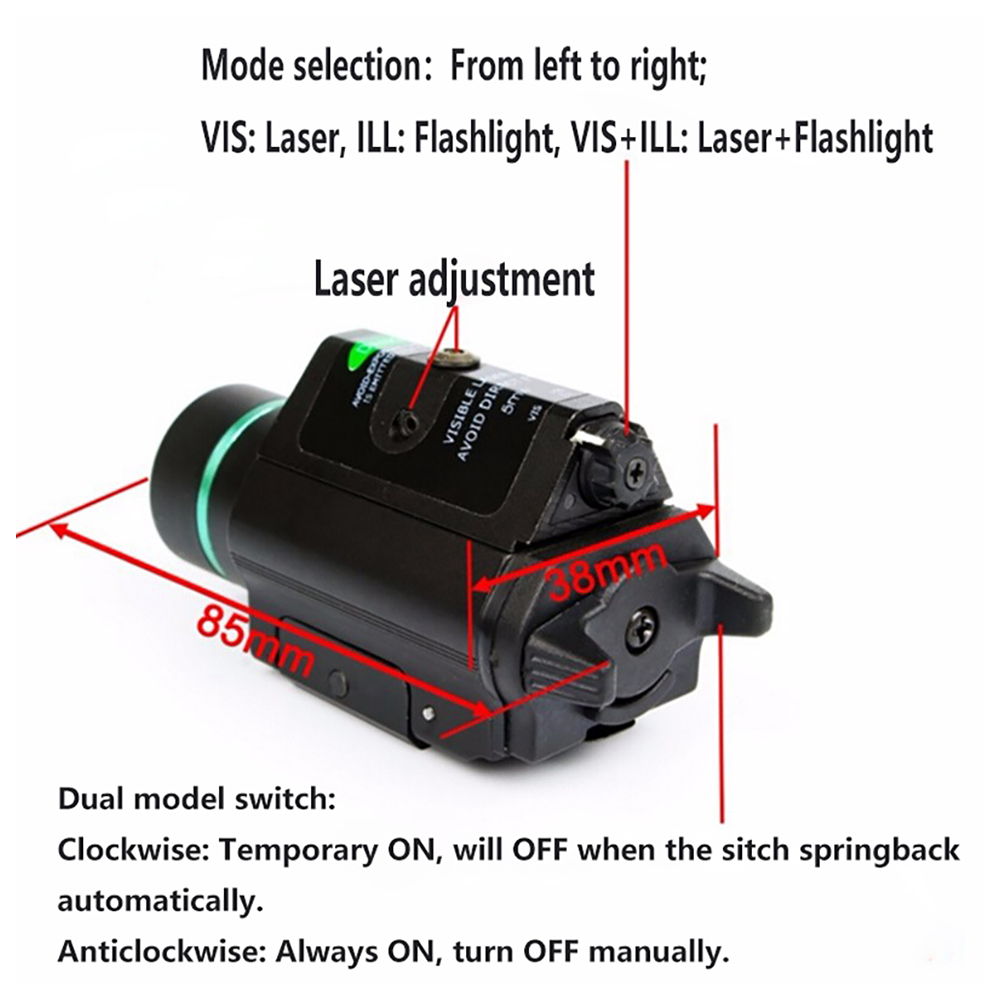 Tactical Combo Metal Green Red Dot Laser Sight LED Laser Flashlight with 20mm Rail Weaver Picatinny Fit For 20mm Rail Gun Glock-5