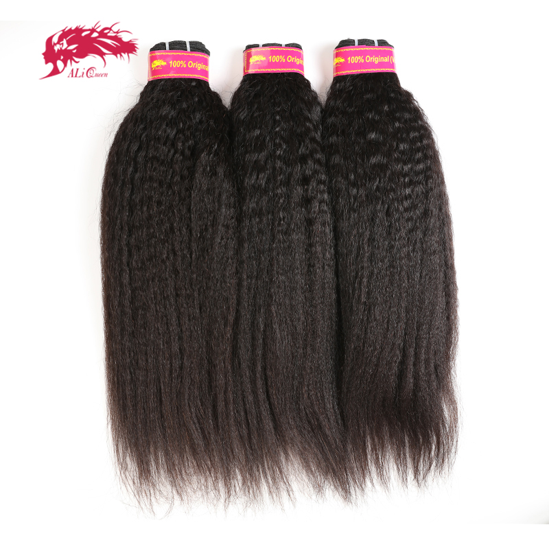 Ali Queen <font><b>Hair</b></font> Yaki Straight Human <font><b>Hair</b></font> 3Pcs Virgin <font><b>Hair</b></font> Extension 14-24inches Natural Color XP/<font><b>10A</b></font> Brazilian <font><b>Hair</b></font> Weave Bundles image