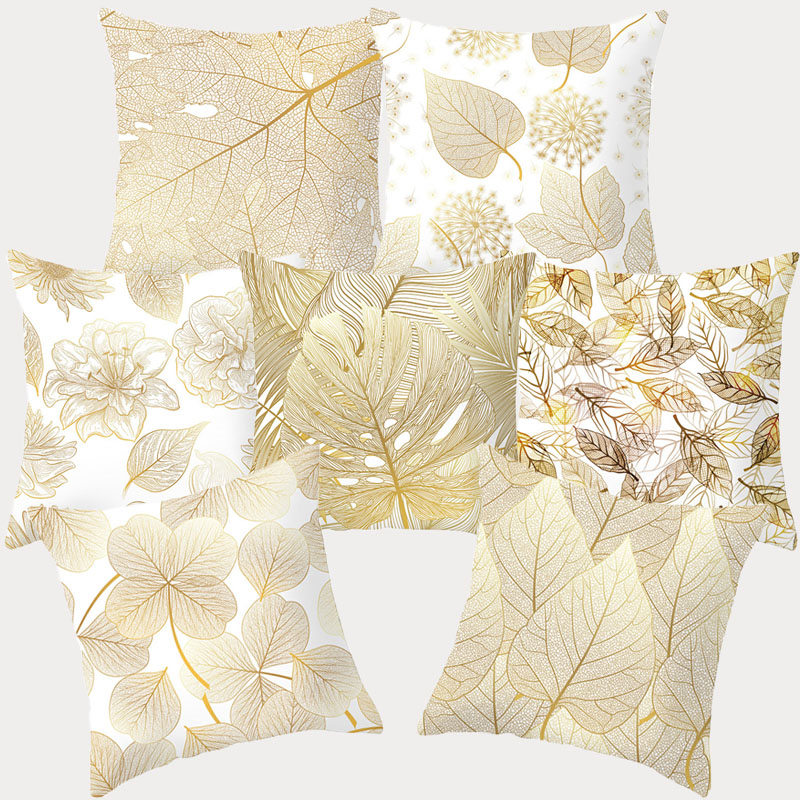 Tropical Leaf Flower Gold Pattern Pillowcase Polyester Cushion Cover Throw Pillow Decorative Cushions Home Decor Pillow Covers