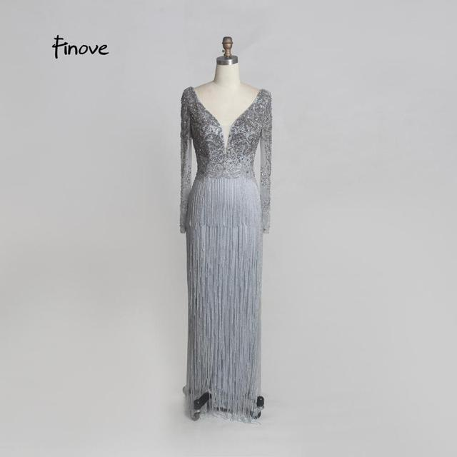 Finove Luxury Beaded Evening Dresses 2020 New Sexy Deep V neck Backless Stunning Tassels Floor Length Long Party Dresses Gowns