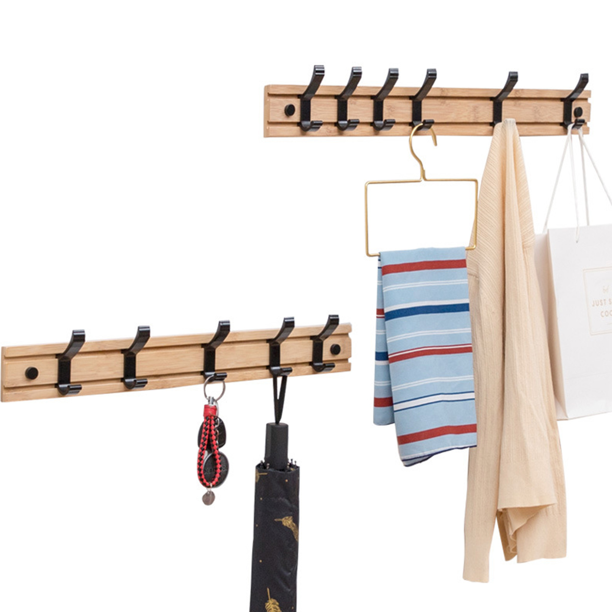 Nordic Fashion Style Bedroom Furniture Coat Rack Clothes Hanger Hooks Living Room Closet Bamboo Hat Racks Coat Hanger Wall Hook 5