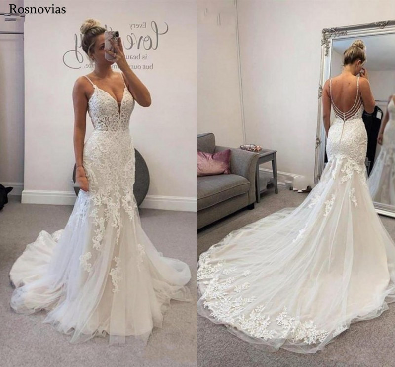 Elegant Spaghetti Strap Mermaid Wedding Dresses 2020 Backless Sweep Train Modest Vestido De Novia Lace Bridal Gowns Custom