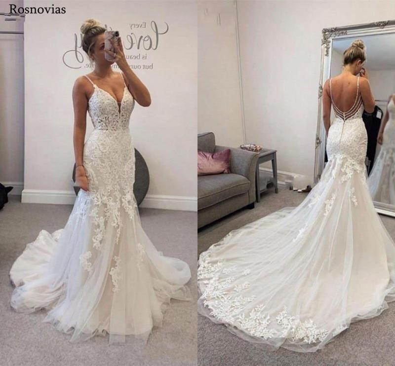 Elegant Spaghetti Strap Mermaid Wedding Dresses 2020 Backless Sweep Train Modest Vestido De Novia Lace Bridal Gowns Custom