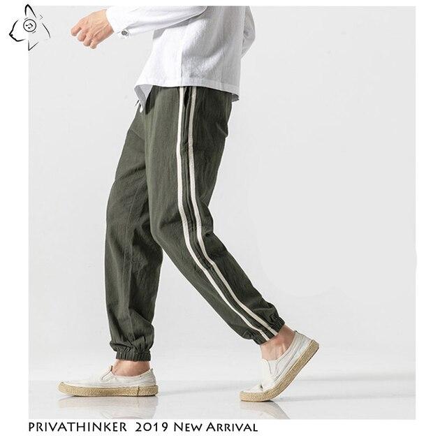 Privatithinker algodão linho casual calças masculinas moda lado listrado homem moletom 2020 outono estilo chinês masculino harem calças