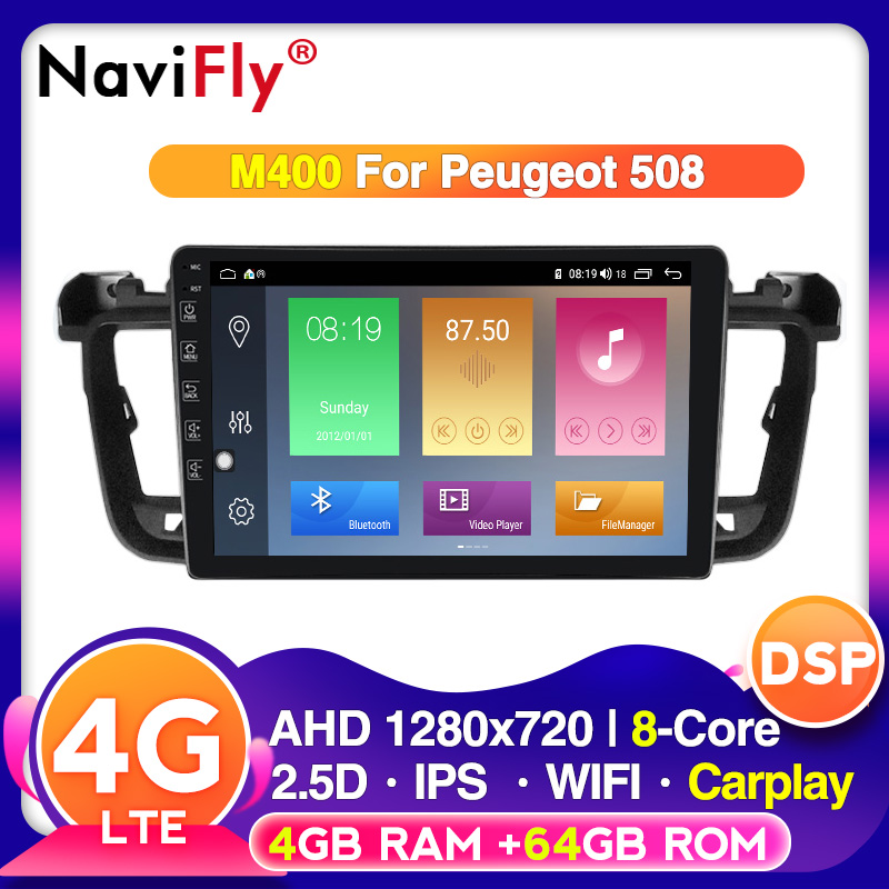 NaviFly 2.5D IPS Android 10 Car DVD Multimedia Player GPS For Peugeot 508 2011 2012 13 14 -2017 Radio With DSP Stereo Navigation