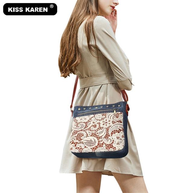 Floral Lace Denim Womens Shoulder Bags with Rivets Fashion Purse Bag Jeans Denim Crossbody Bags Women Messenger Bags