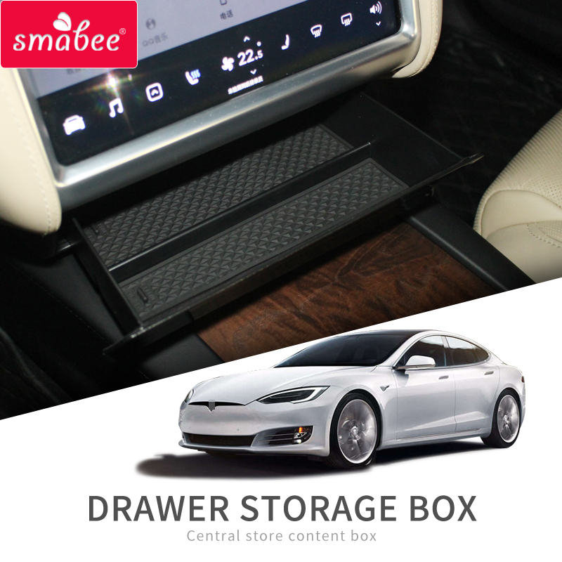 Smabee Central Console Storage Box For Tesla Model X Model S Car Interior Accessories Container Store Content Drawer Box