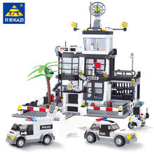 631Pcs City Police Station Building Blocks  SWAT Truck LegoINGLs Bricks Brinquedos Playmobil DIY Educational Toys for Children city police swat helicopter car building blocks compatible legoingls brinquedos bricks playmobil educational toys for children