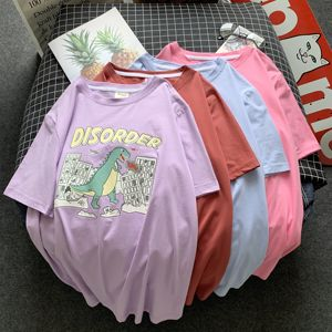 90% Cotton summer Basic women shirts Plus Size dinosaur pink Oversized Tees harajuku Korean Style Simple Tops Female TYD03(China)