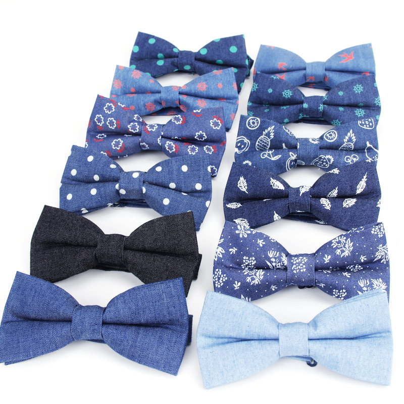 2020 Brand New Solid Color Cotton Bow Tie Flexible Denim Flower Dot Bowtie Smooth Necktie Soft Butterfly Pattern Navy Casual Tie