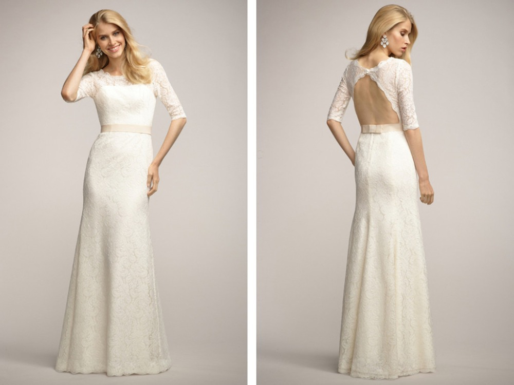 Robe De Mariage Vestido De Noiva Simple 2018 Casamento Sexy Backless Lace Bridal Gown Half Sleeves Mother Of The Bride Dresses