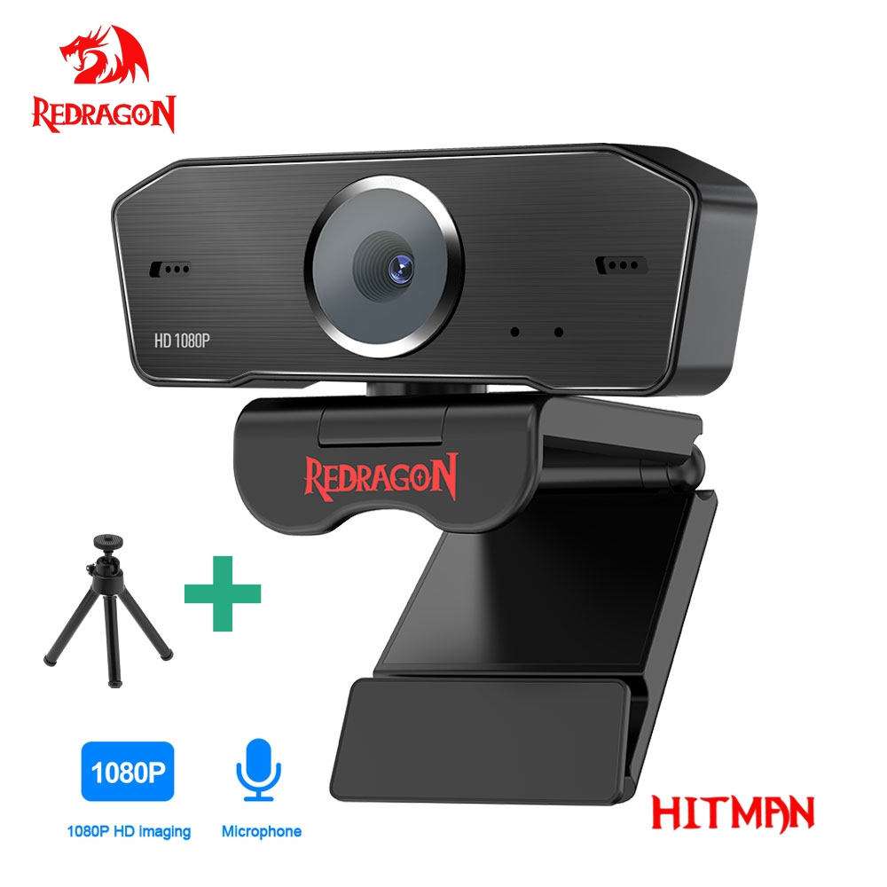 REDRAGON GW800 HITMAN USB HD Webcam Built-in Microphone Smart 1920 X 1080P 30fps Web Cam Camera for Desktop Laptops PC Game