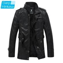 Jacket Motor Fur-Collar Vintage Winter Casual Fashion New Warm Thick Long Pu Parkas Men