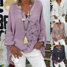 Plus Size Fashion Linen Butterfly Blouse Shirt Loose V-Neck