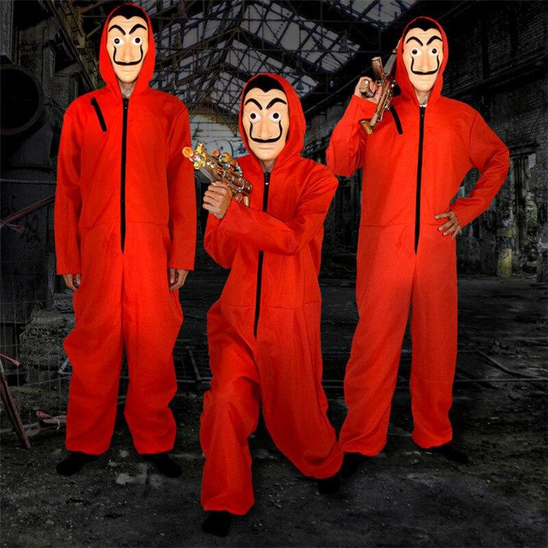 Combinaison rouge film Cosplay La maison De papier carte hommes femmes uniforme La Casa De Papel masque à capuche barboteuse Halloween effrayant Costume
