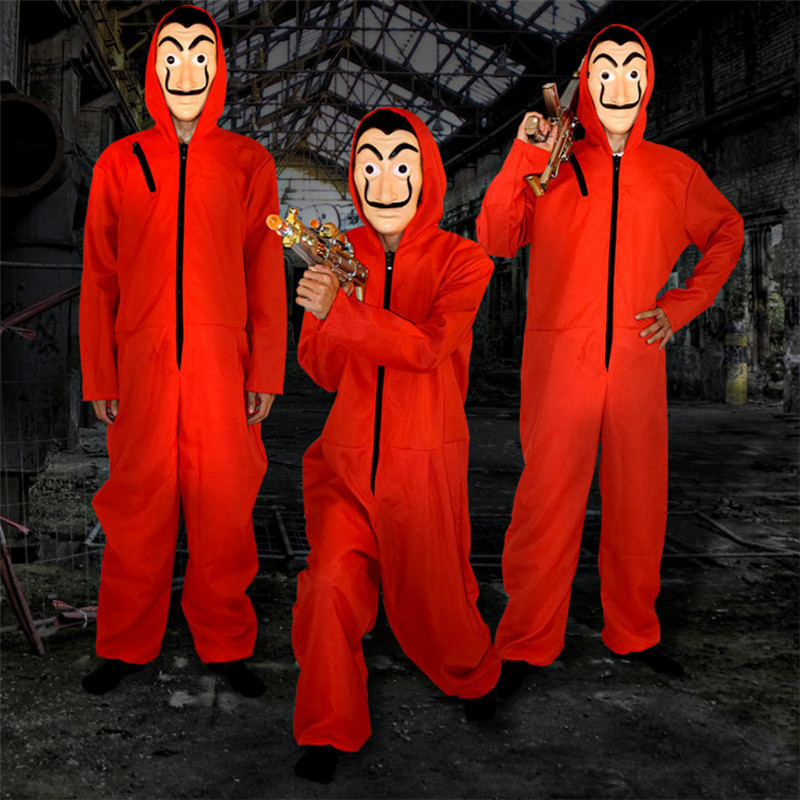 Red Jumpsuit Movie Cosplay The House Of Paper Card Men Women Uniform La Casa De Papel Mask Hooded Romper Halloween Scary Costume