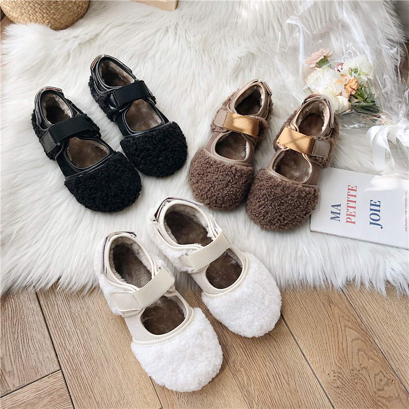 WOMENS BLACK FLAT SLIP-ON COMFY CASUAL CREEPER FAUX FUR BOW SHOES LOAFERS 3-8