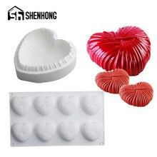 Shenhong coração-forma mousse moldes pastelaria ferramentas de cozimento chili cenoura bolo de silicone moldes sobremesa decoração pan cozinha bakeware