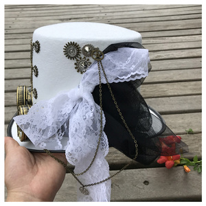 Image 3 - Women White Handmade Steampunk Top Hat With Gear Glasses and Lace Stage Magic Hat Performance Hat Size 57CM Steampunk Hat