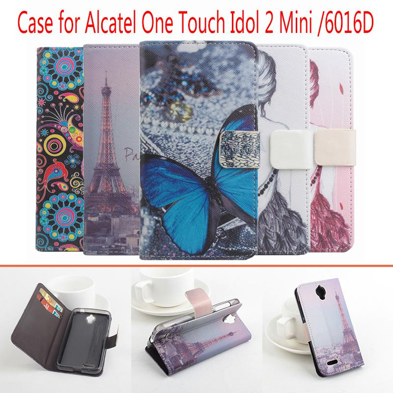 High Quality Pattern Flip Leather Case Cover <font><b>For</b></font> <font><b>Alcatel</b></font> One Touch Idol 2 Mini 6016 <font><b>6016D</b></font> with stand function and card slots image