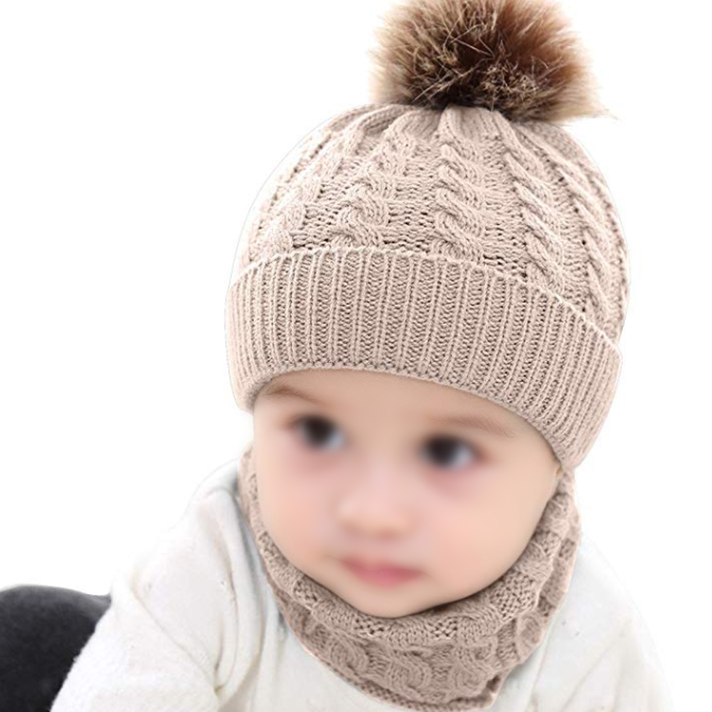 2pcs Cute Knitted Autumn Winter Soft Neckerchief Warm Baby Kids Gift Woolen Yarn Outfit Unisex Striped Daily Hat Scarf Set