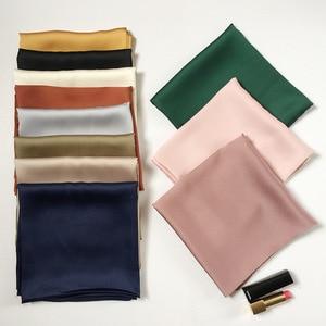 Fashion Solid Kerchief Women Head Scarf For Hair Pink Green White Silk Neck Scarfs Female 70cm*70cm Square Bandanas Lady Scarves