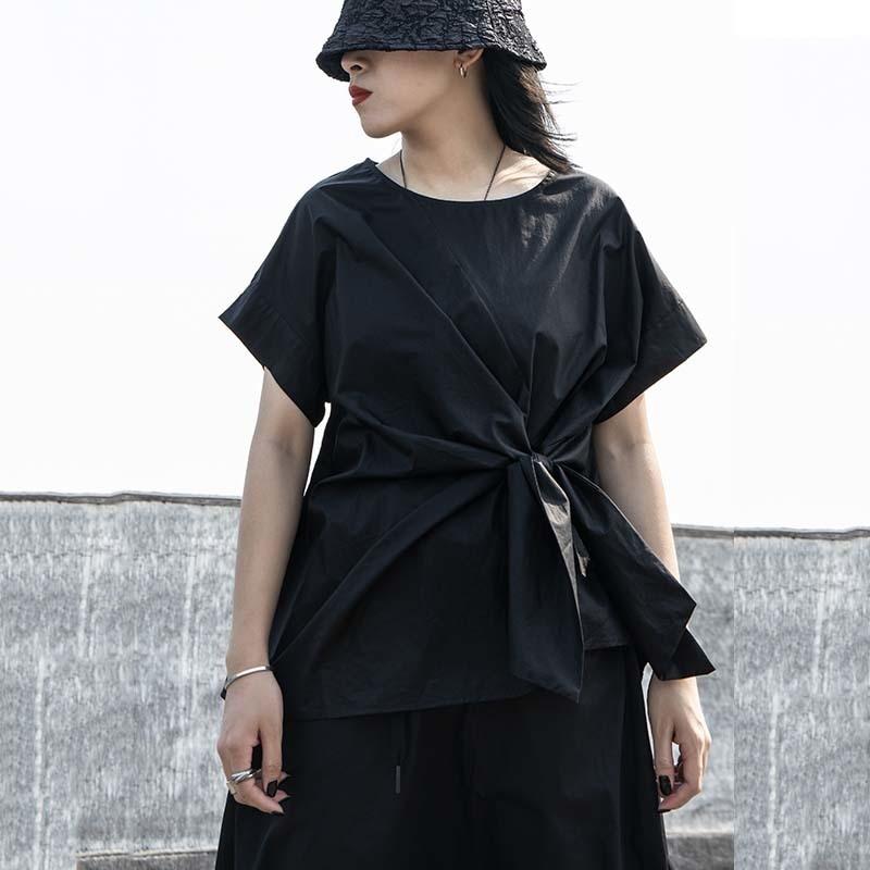 [EAM] Women Black Irregular Knot Split Big Size T-shirt New Round Neck Short Sleeve  Fashion Tide  Spring Summer 2020 1W254 7