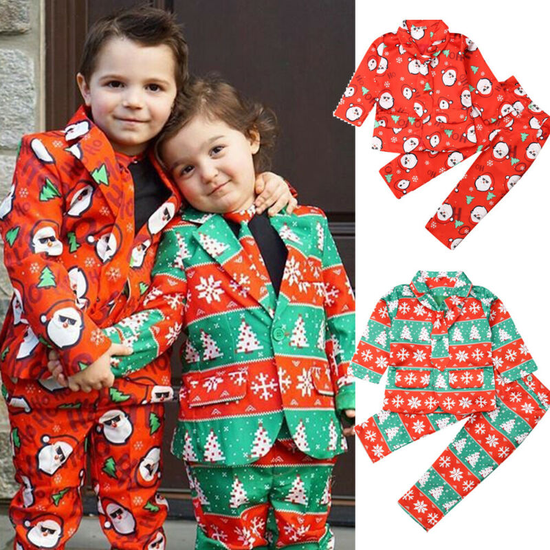 2019 Christmas Clothes Kids Boy Christmas Formal Suit Blazer Jacket+Pants+Necktie Gentleman Set 3Pcs Printed Xmas Outfit 3-8Y