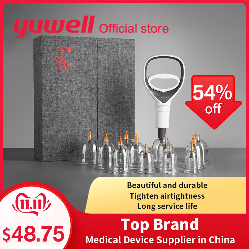 Yuwell Vacuum Cupping Set Body Liposuction Relax Massager Medical Device Vacuum Cupping Cups with Magnetic Acupuncture Needle-in Massage & Relaxation from Beauty & Health