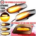Для Citroen C4 Picasso C3 C5 DS4 Peugeot 308 207 3008 5008 светодиодный автомобиль динамического Боковой габаритный фонарь, сигнальная лампа светильник сигнальны...