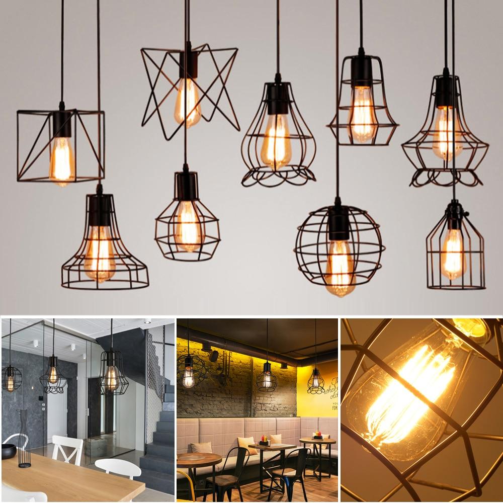 9 Type Modern Black Cage Pendant Lights Iron Minimalist Retro Nordic   Lamp Metal Hanging Lamp E27 Indoor